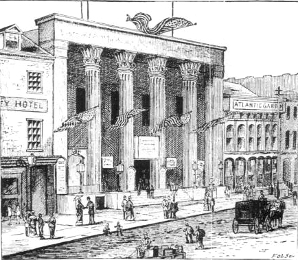 Bowery Theatre (as rebuilt in 1845 after a fire), 46 Bowery, New York.