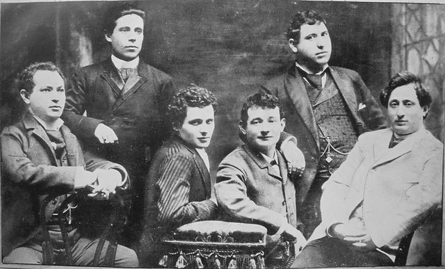 Yiddish theater actors and personalities in 1888: from left to right: Jacob P. Adler, Zigmund Feinman, Zigmund Mogulesko, Rudolf Marx, Mr. Krastoshinsky and David Kessler