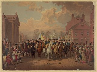 """Evacuation day"" and Washington's triumphal entry in New York City, Nov. 25th, 1783."