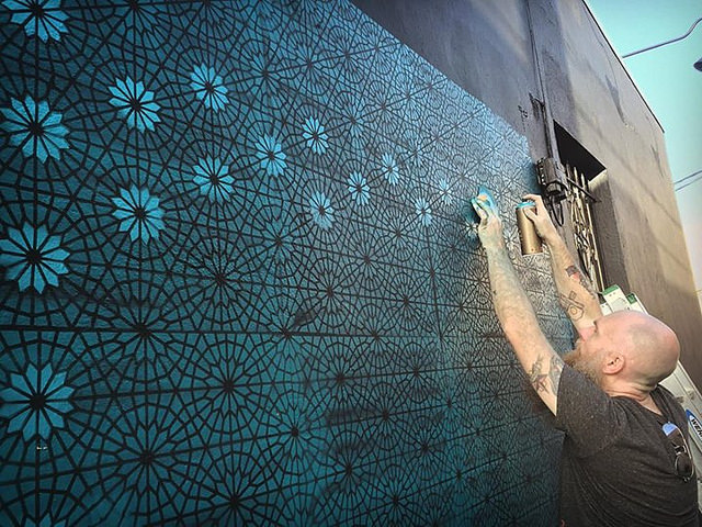 Process shot from the mural Logan Hicks did in Hollywood Florida during Basel. Photo courtesy of Logan Hicks.